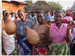 Women displaying kitete gourds and kitete seed necklaces at community festival Credit: Yasuyuki Morimoto/Bioversity International
