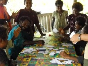 Workshop participants developing the Kala garden game.