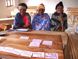 A Women's Focus Group Discussing Changes in Plant Abundance in Goka, Tanzania. Credit: Samantha Ross