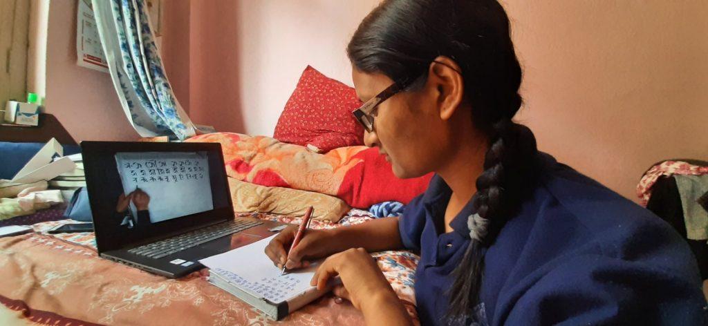 Nepali student learning Nepal Lipi online