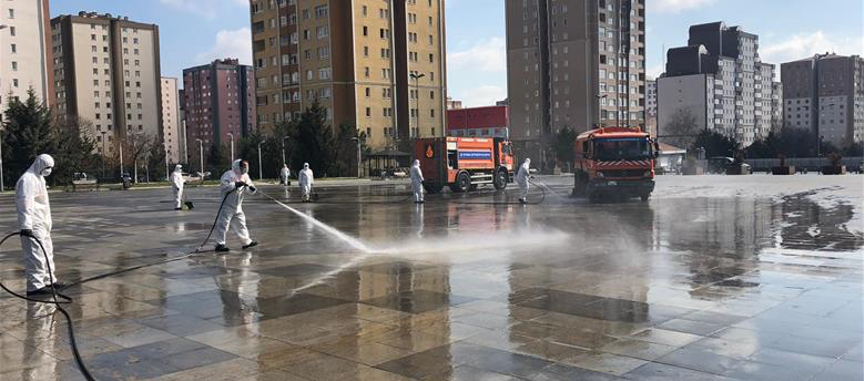 Workers spraying Istanbul streets with disinfectant during the pandemic