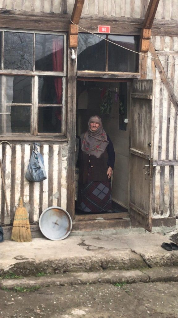 Turkish woman villager staying at home during the pandemic