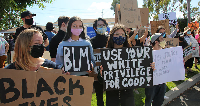 Lake Forest, CA / USA - June 6, 2020: Black Lives Matter protest